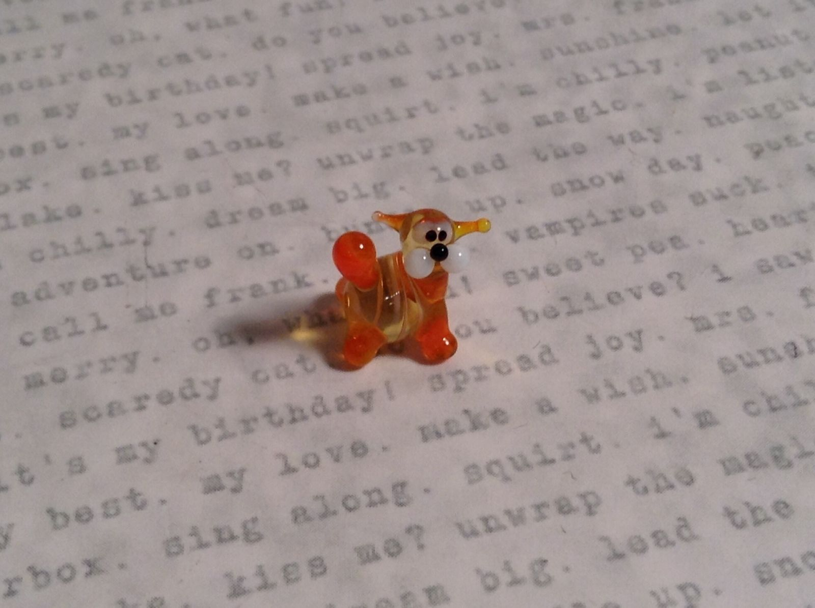 Micro miniature small hand blown glass striped orange cat w/ whiskers USA  NIB