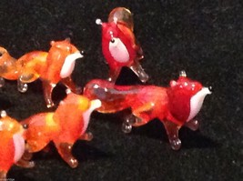 Micro miniature small hand blown glass red fox USA MADE