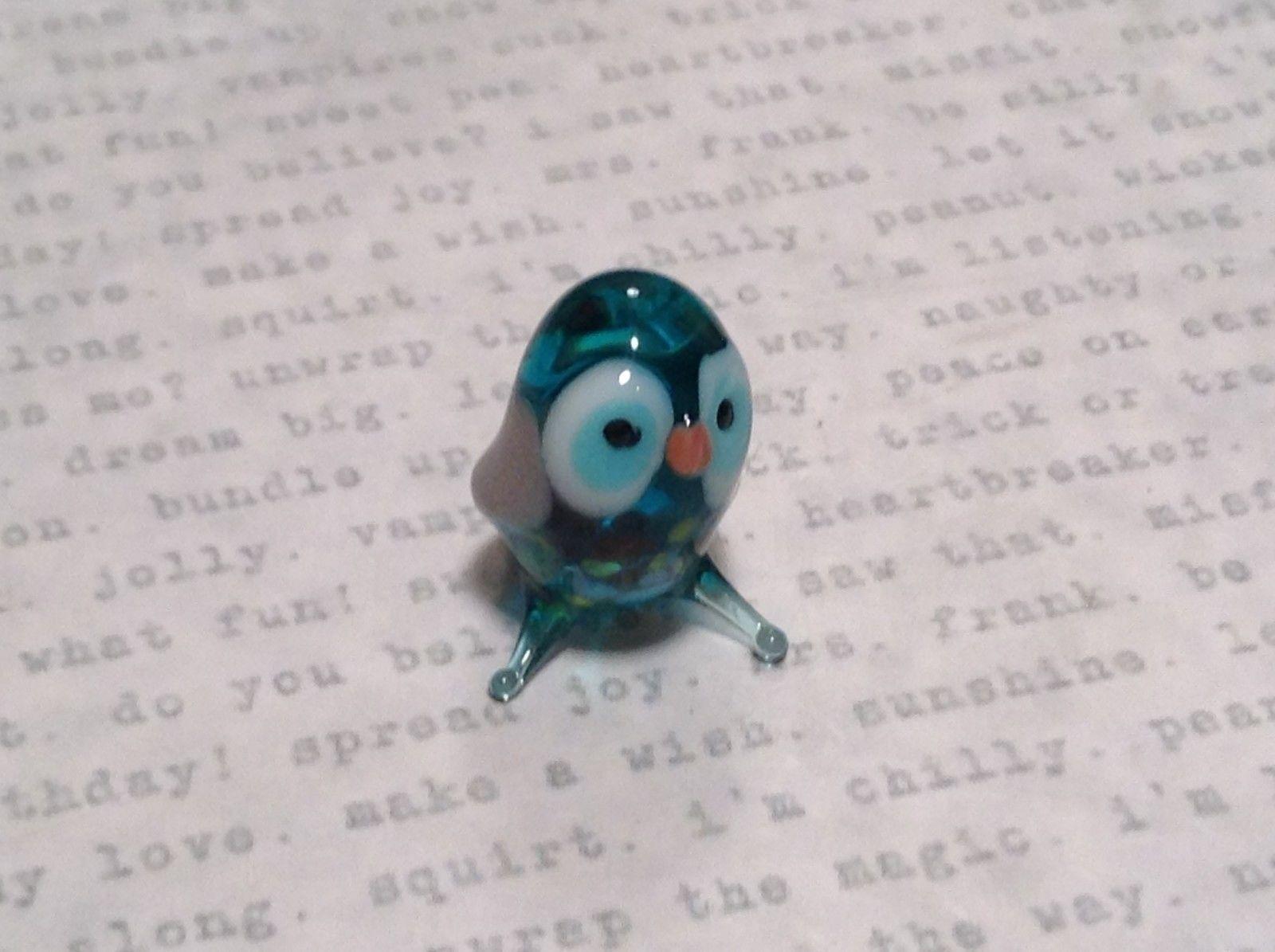 Micro miniature small hand blown glass sea blue owl    USA  NIB