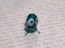 Micro miniature small hand blown glass sea blue owl    USA  NIB