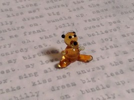 Micro miniature small hand blown glass tiny figurine amber bear USA  NIB
