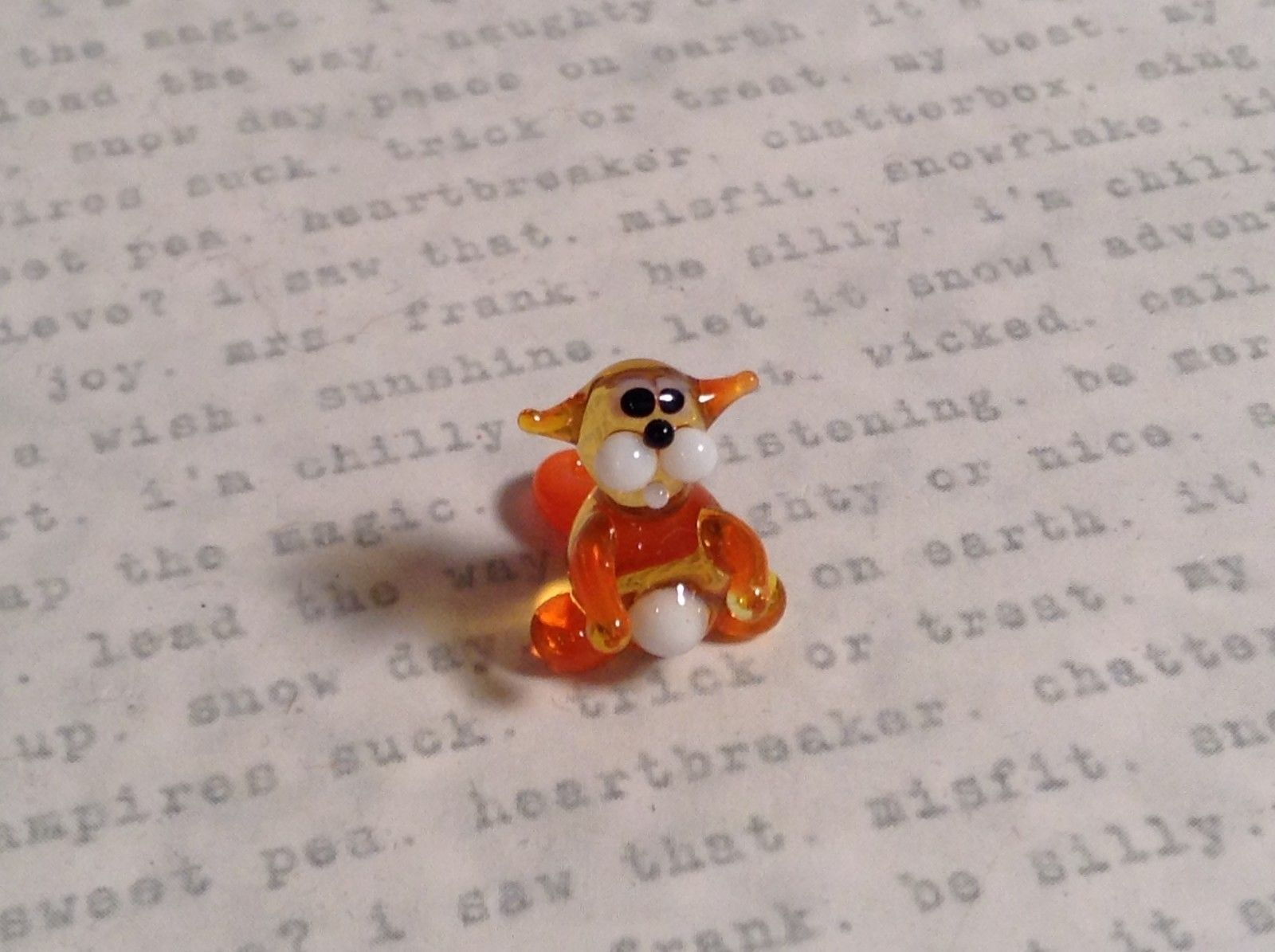 Micro miniature small hand blown glass tiny orange amber cat USA made