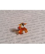 Micro miniature small hand blown glass tiny orange amber cat USA made - $19.79