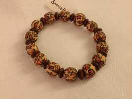 Leopard stripe stretchy bracelet with wood spacers made in USA image 4