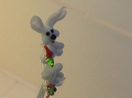 Micro miniature small hand blown glass white rabbit with carrot USA made
