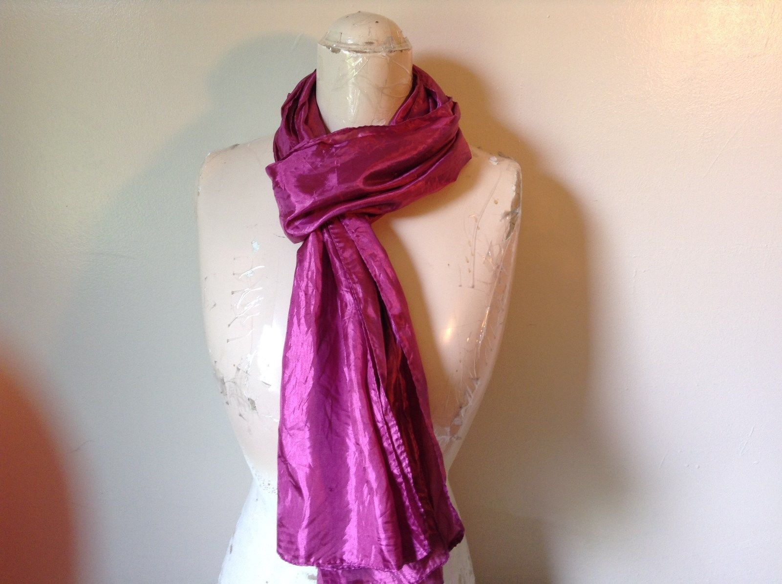 Pink Shiny Smooth Scarf Twos Company 100 Percent Polyester