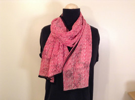 Pink Scarf with Floral Ornament and Black Border 100 Percent Polyester image 1