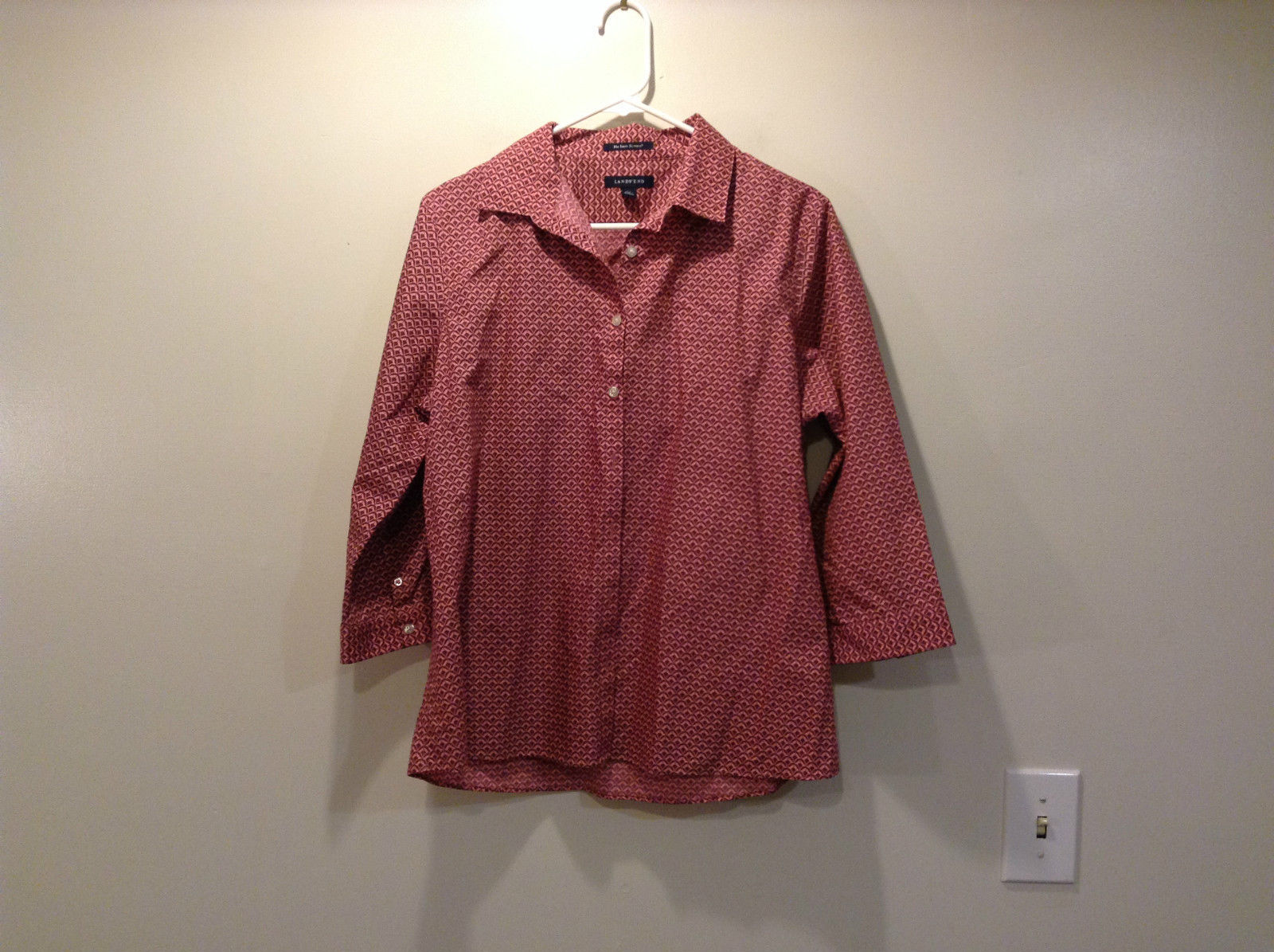 Pink Pattern Button Down Lands End Shirt 100 Percent Supima Cotton Size 14