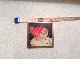 Let it Snow Charm Present Tie On Versatile Reversible Tag Metal Glass Tag image 3