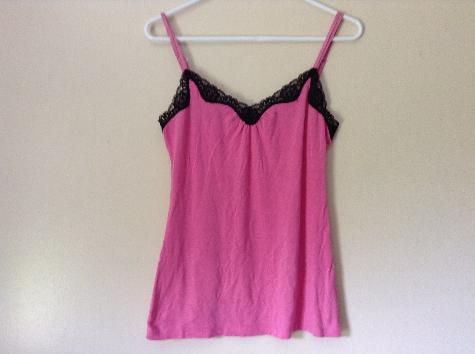 Pink Spaghetti Strap Tank Top Black Lace at Top NO TAG