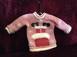 Pink Poseable Ugly Sweater Ornament Snowflakes Pipe Cleaners Picture of Santa image 1