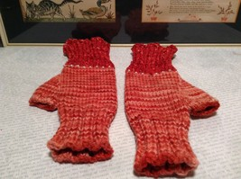 Pink Red Hand Knitted Woven Fingerless Gloves Very Soft