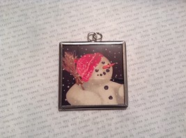 Let it Snow Charm Present Tie On Versatile Reversible Tag Metal Glass Tag image 2