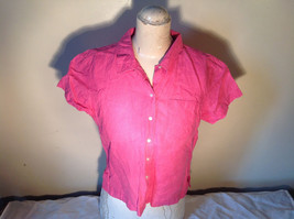 Pink Short Sleeve Button Down with Collar Front Pockets Top Kate Hill Size PL