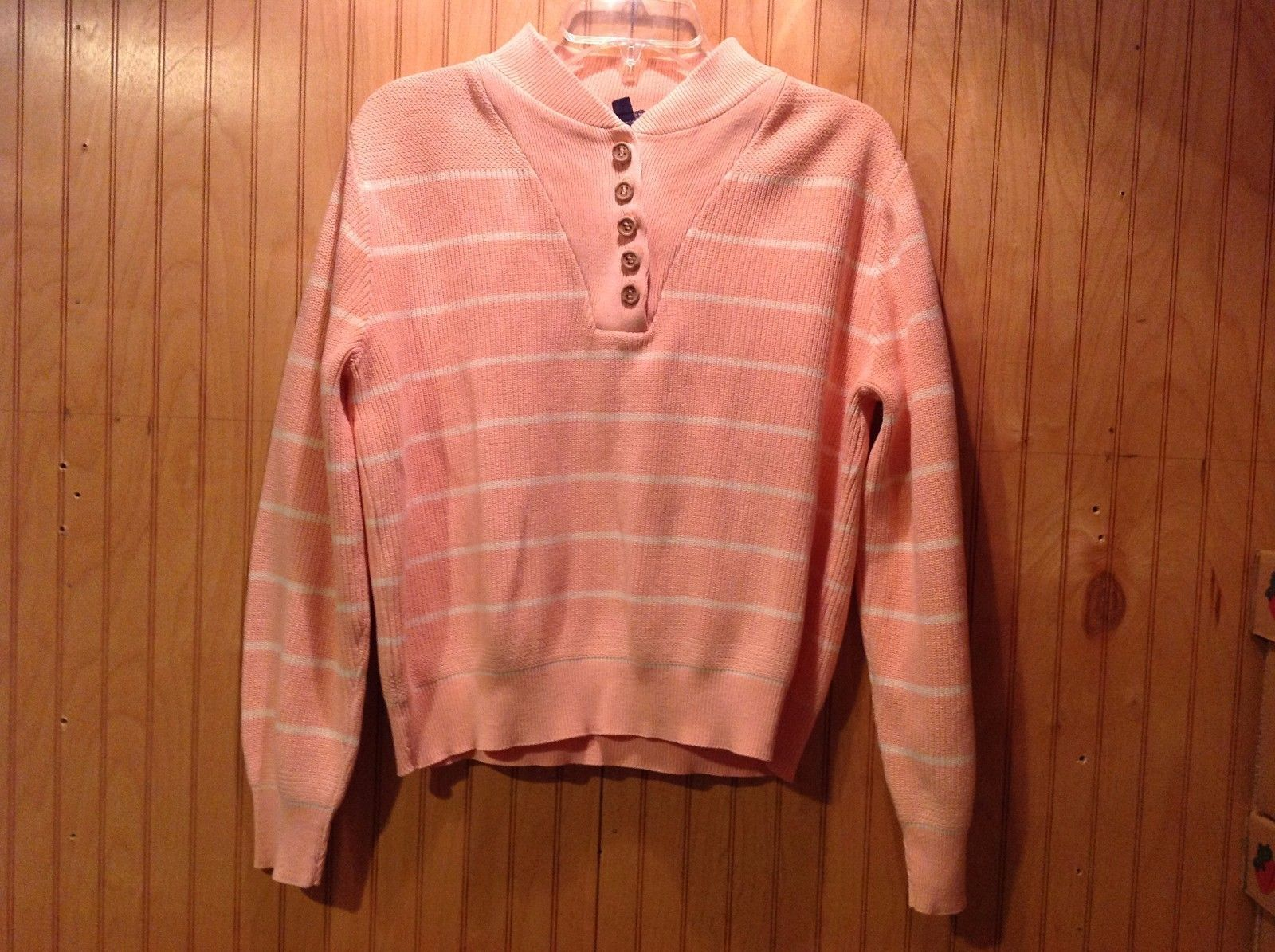 Pink Woven Long Sleeve Sweater Land's End V-Neck with Buttons Striped