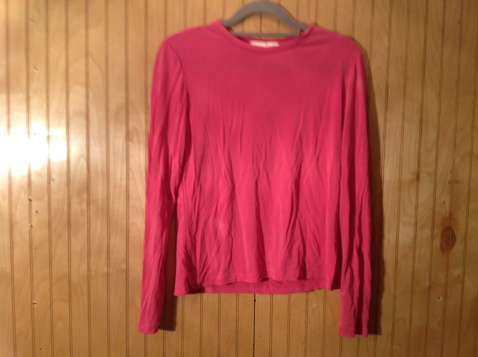 Pink Stretch Isaac Mizrahi Long Sleeve Top Size Small Made in USA