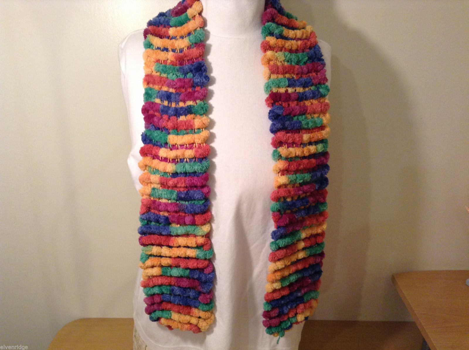 Pom pom balls multi colored stripes scarf