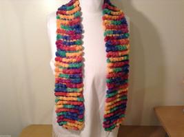 Pom pom balls multi colored stripes scarf