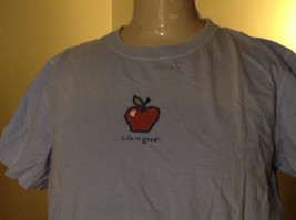 Life is Good Light Blue Life is Good Apple Short Sleeve Shirt Size Medium image 2