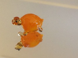 Micro miniature small hand blown glass yellow orange turtle made in USA  NIB