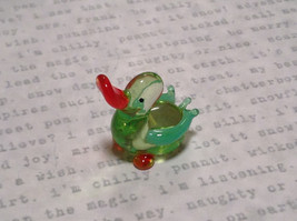Mini Figurine Hand Blown Glass Light Green Duck Made in USA image 1