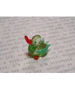 Mini Figurine Hand Blown Glass Light Green Duck Made in USA - $19.79