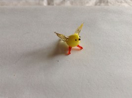 Micro miniature small hand blown glass yellow bird finch or canary USA made