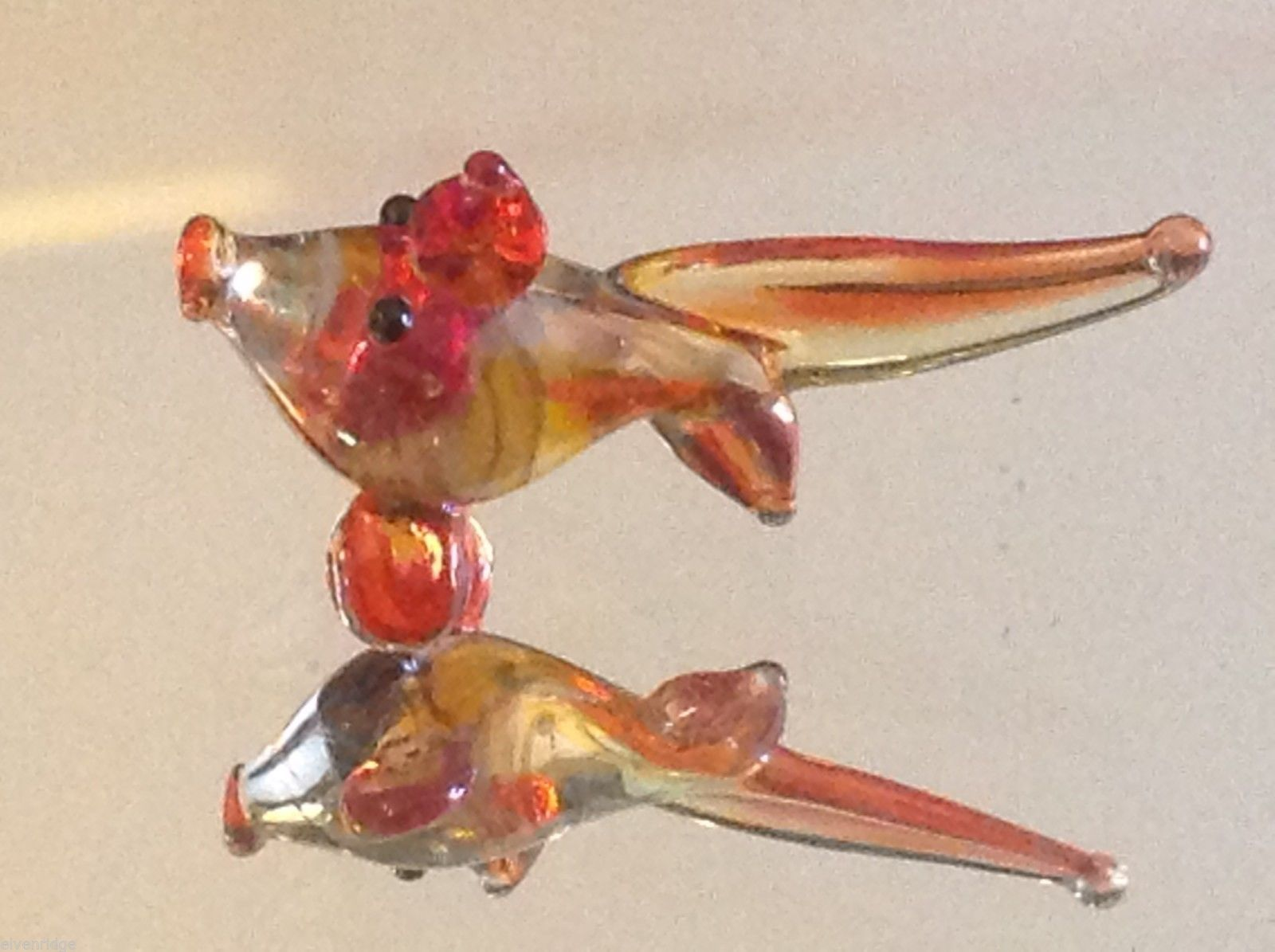 Micro miniature small hand blown glass yellow orange red tropical fish