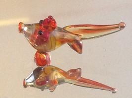 Micro miniature small hand blown glass yellow orange red tropical fish image 1