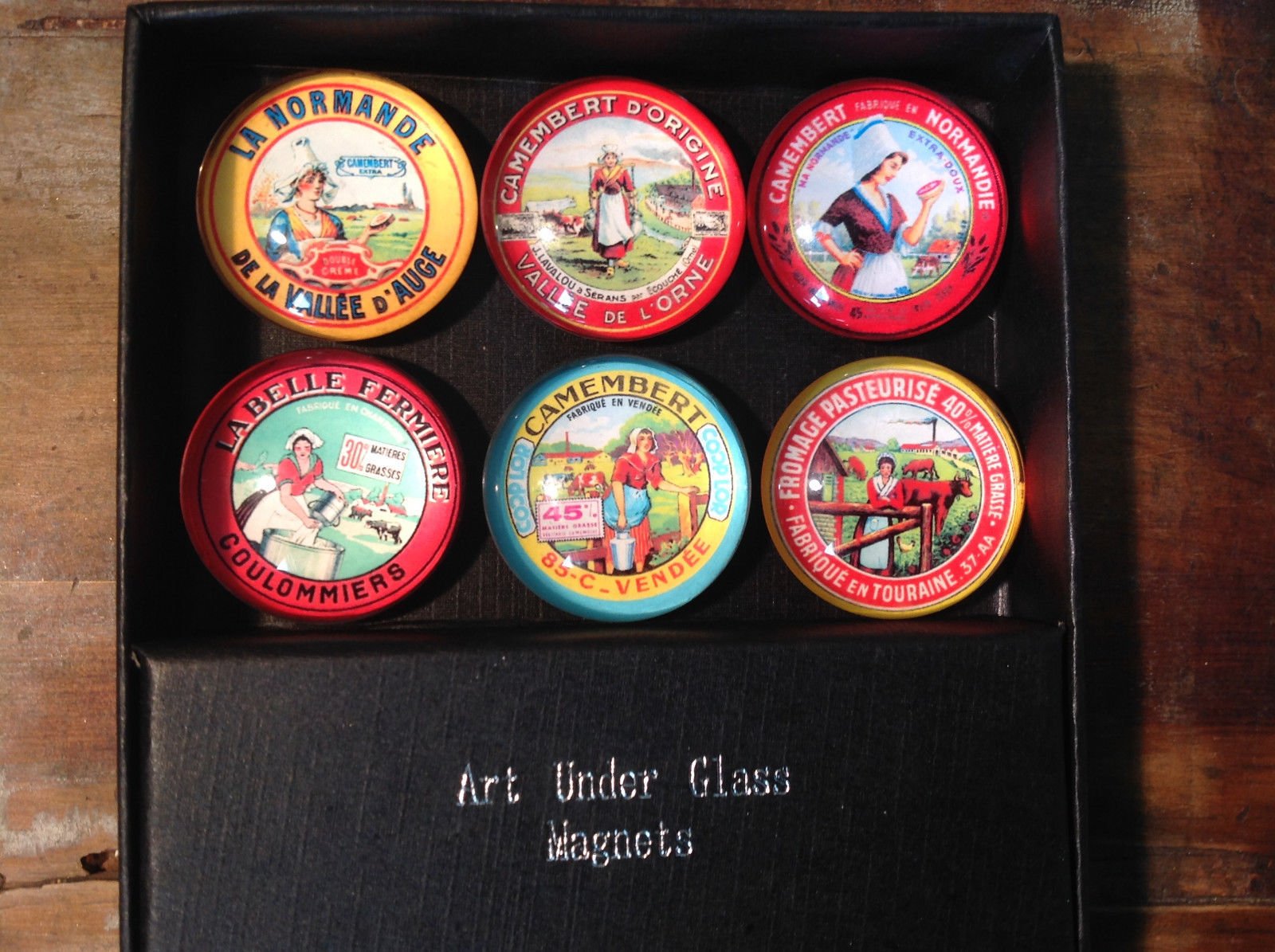 Milkmaid Glass Circular Magnets Set of 6 Unique Art Under Glass  French Cheese