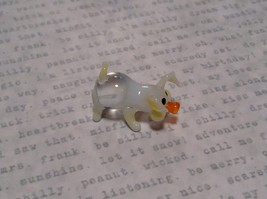 Mini Hand Blown Glass Clear Piglet with Yellow Accents Made in USA