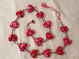 Mini Patterns Fabric Red Hearts Strand w Beads and Bells String Connector