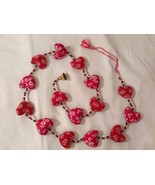 Mini Patterns Fabric Red Hearts Strand w Beads and Bells String Connector - $39.99