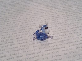 Light Blue Colored Bull Hand Blown Glass Mini Figurine Made in USA image 2