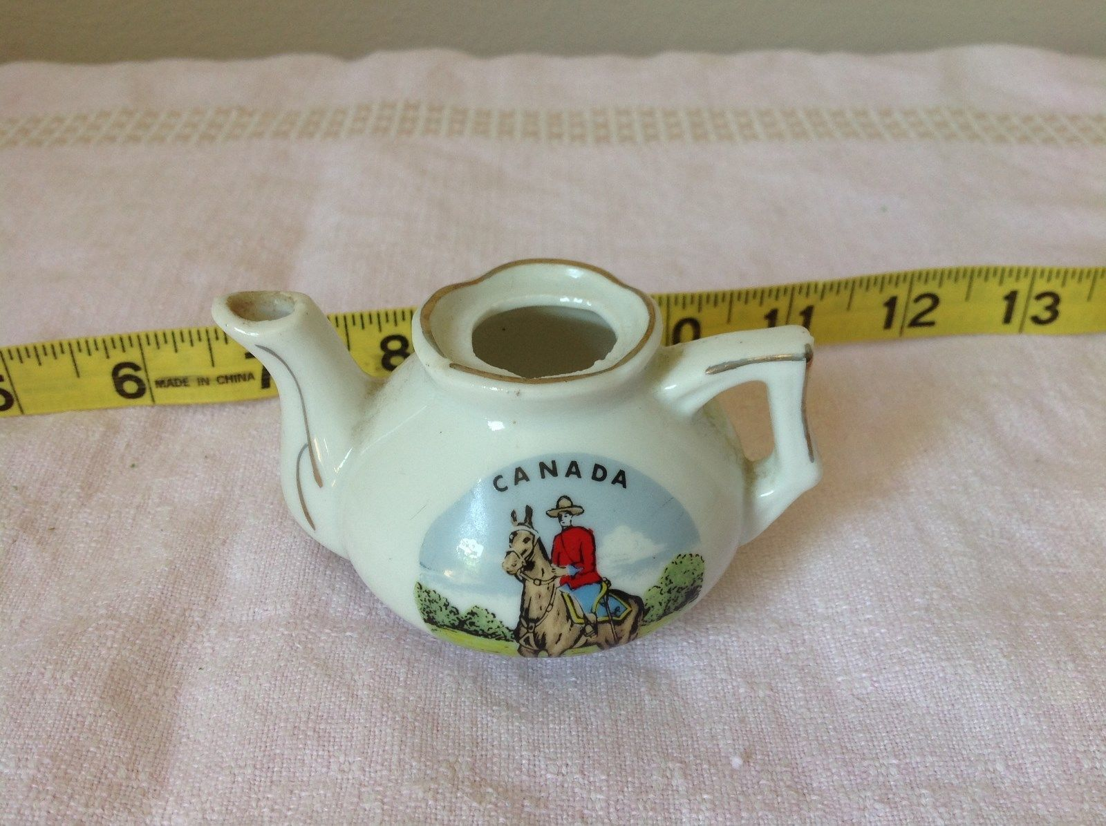 Miniature Teapot with Lid Canada RCMP Decorative Item White