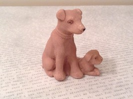 Miniature ceramic Dog With Puppy Figurine, Collectible, Cute image 1