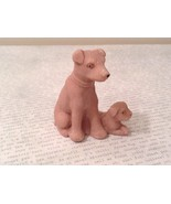 Miniature ceramic Dog With Puppy Figurine, Collectible, Cute - $34.64