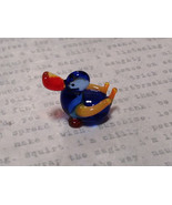 Mini Hand Blown Glass Figurine Dark Blue Duck with Orange Wings Made in USA - $19.79