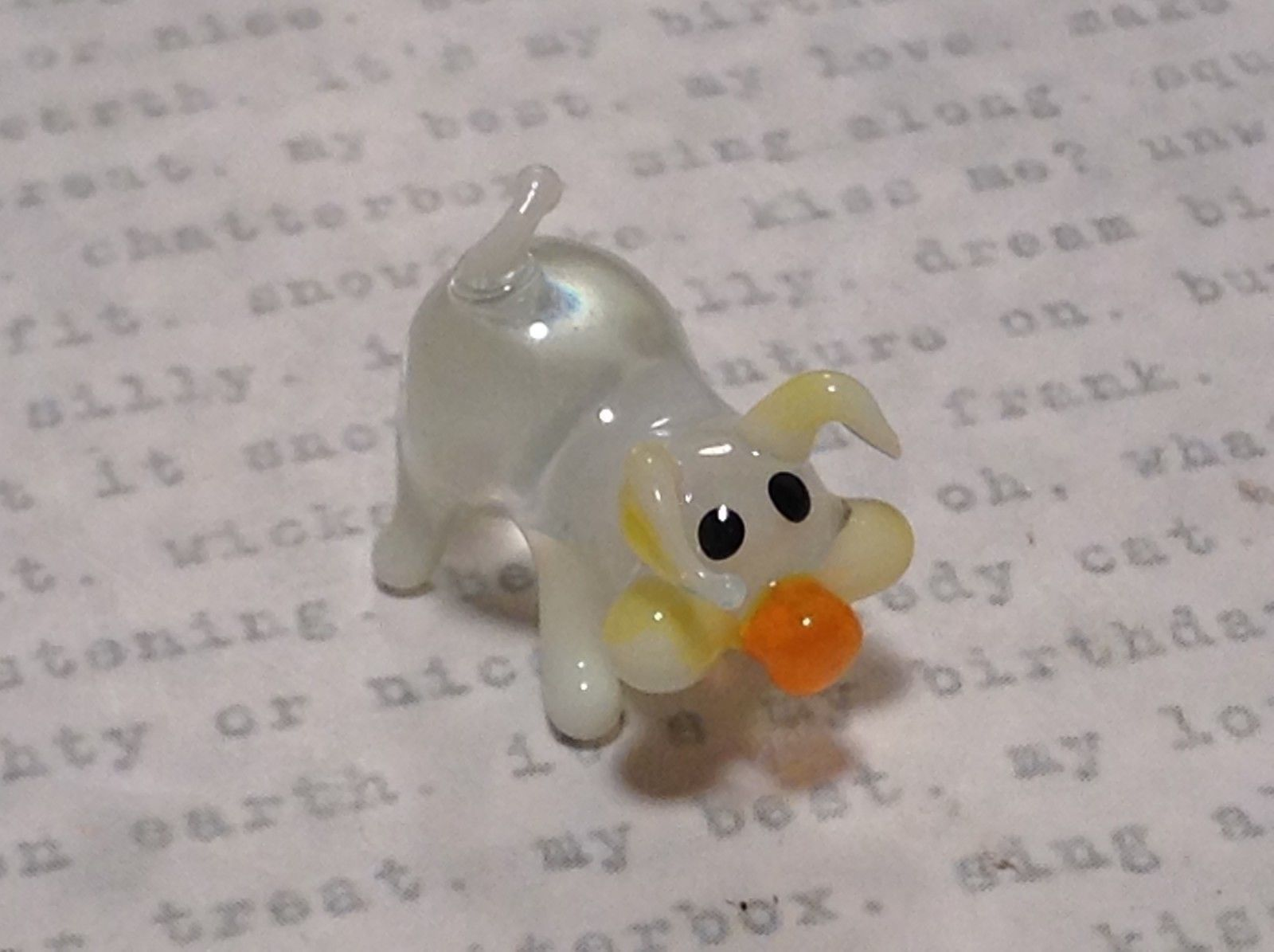 Miniature small hand blown glass clear pig hog made USA NIB