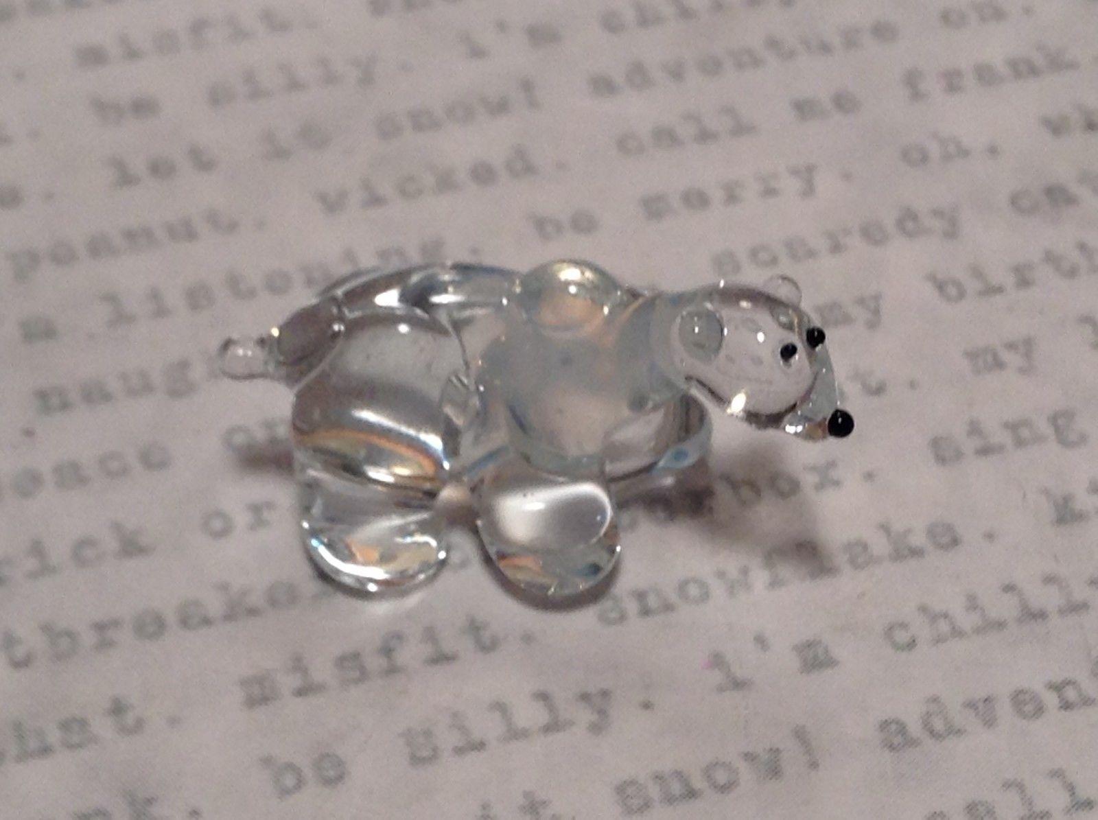 Miniature small hand blown glass icy clear polar bear made USA NIB