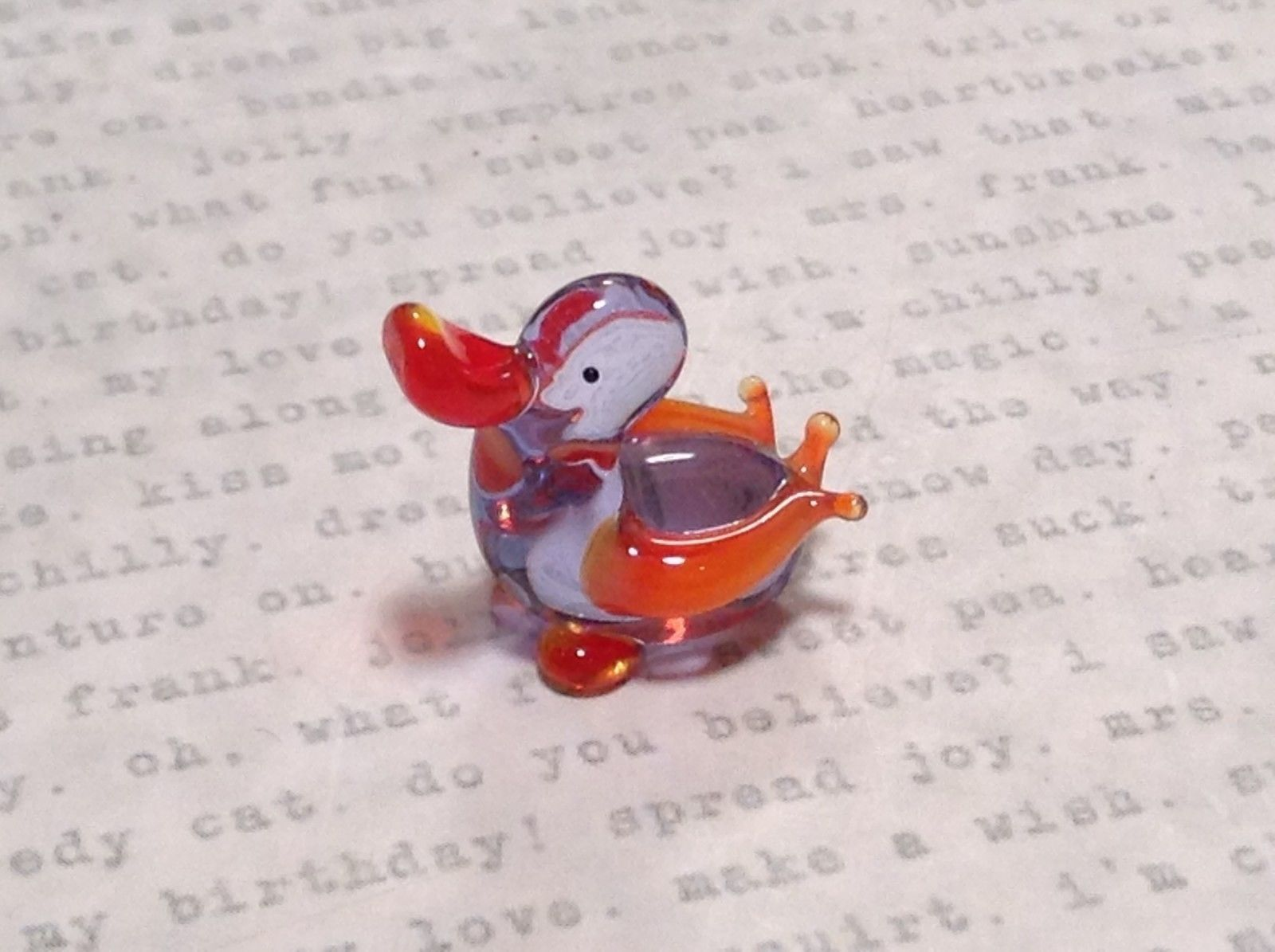 Miniature small hand blown glass clear and orange duck made USA NIB