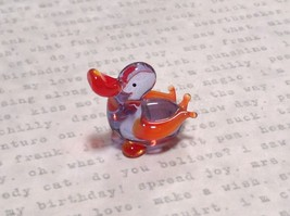 Miniature small hand blown glass clear and orange duck made USA NIB - $39.99