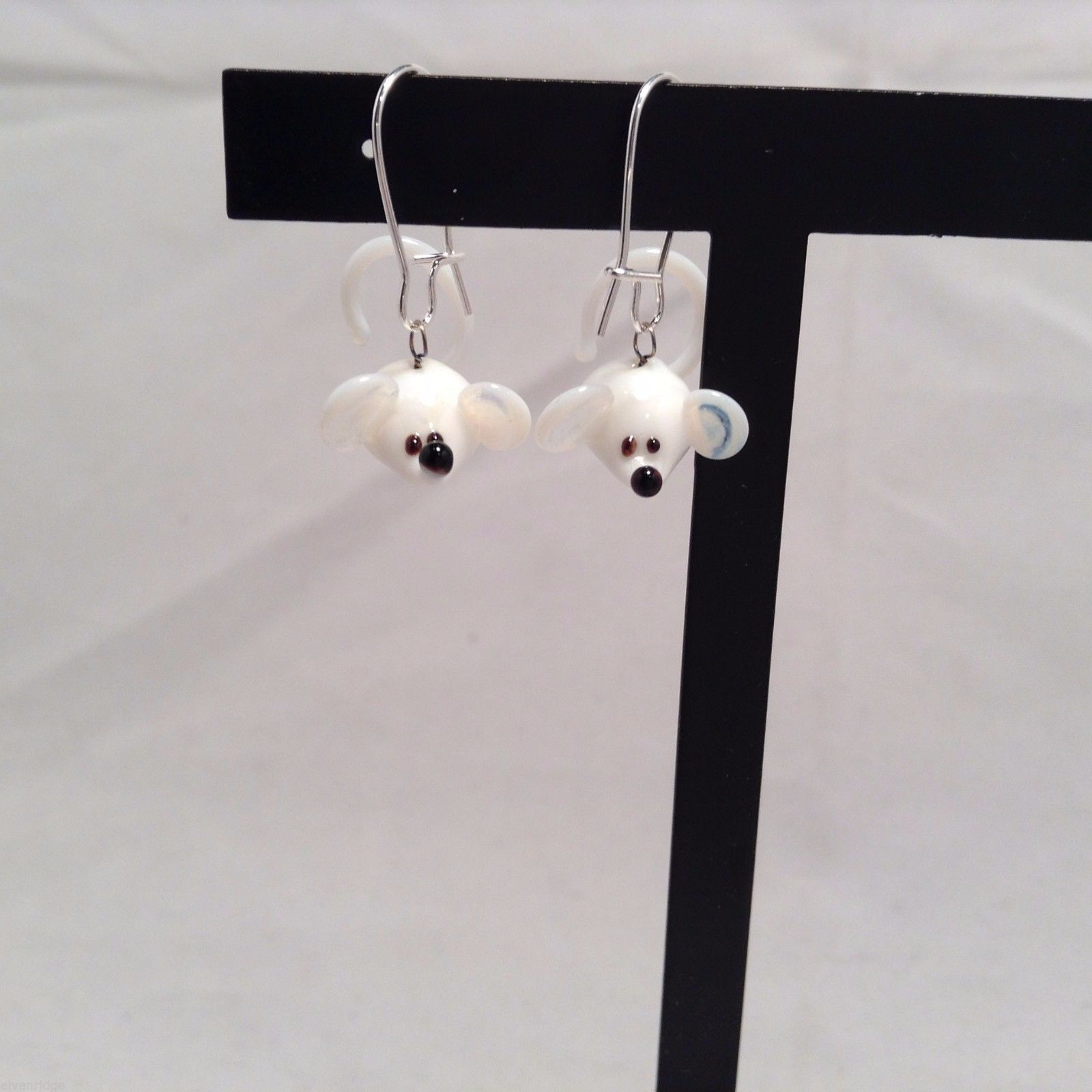 Miniature small hand blown glass made USA NIB white mice lying down earrings