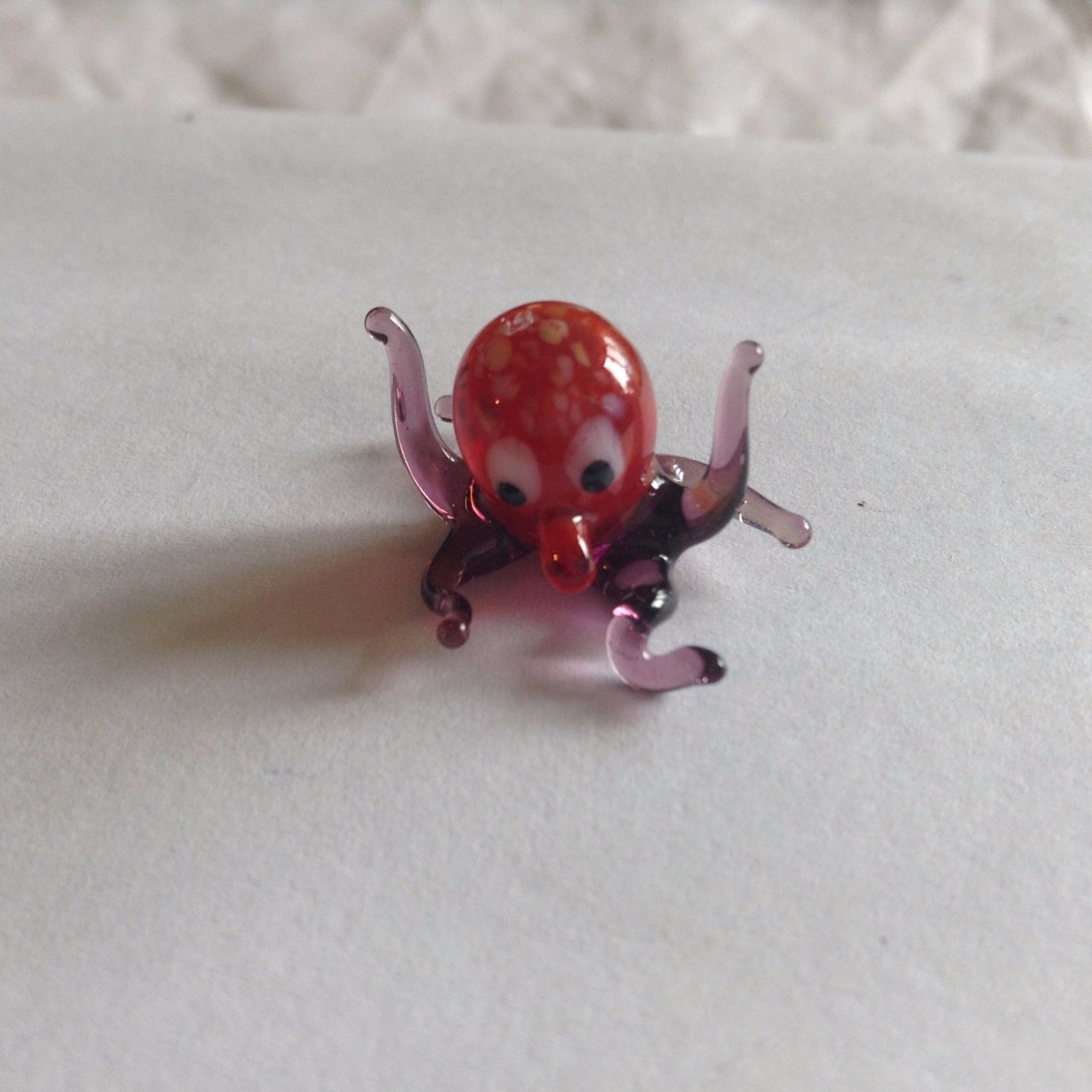 Miniature small hand blown glass purple and red octopus made USA NIB