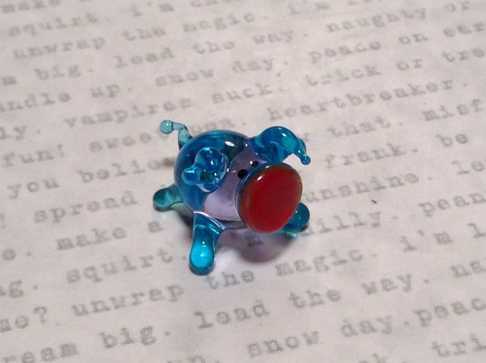 Miniature small hand blown glass light blue piglet  made USA NIB