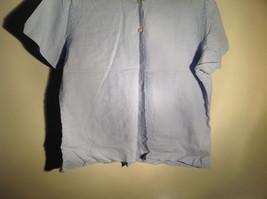 Light Blue Button Up Short Sleeve Lands End Blouse 100 Percent Linen Size M image 3