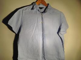 Light Blue Button Up Short Sleeve Lands End Blouse 100 Percent Linen Size M image 2