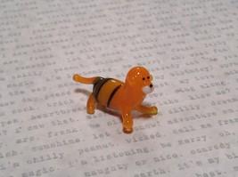 Miniature small hand blown glass orange tiger made USA NIB