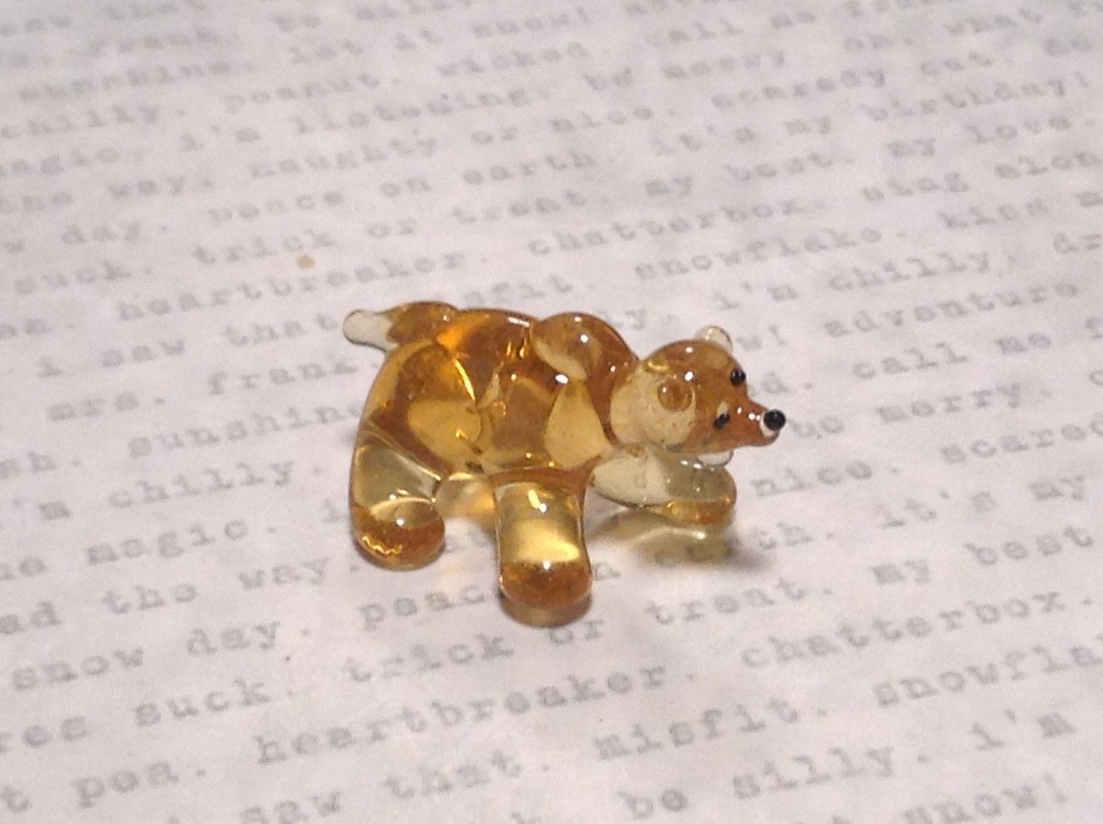 Miniature small hand blown glass yellow amber bear made USA NIB