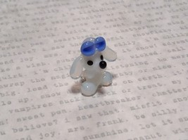 Miniature small hand blown glass white dog w blue bow made USA NIB